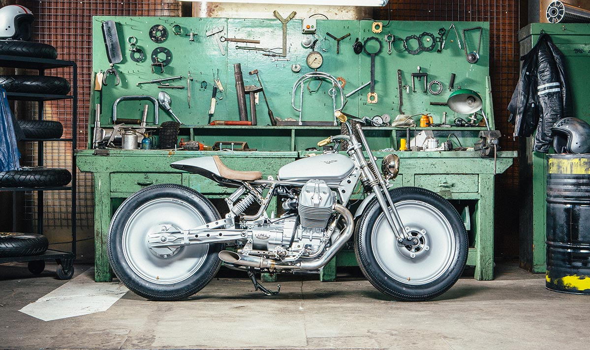 to win their heat omt garage took a stock 2015 moto guzzi v7 as given to all contestants and produced a brilliant cafe racer with hints of old and new