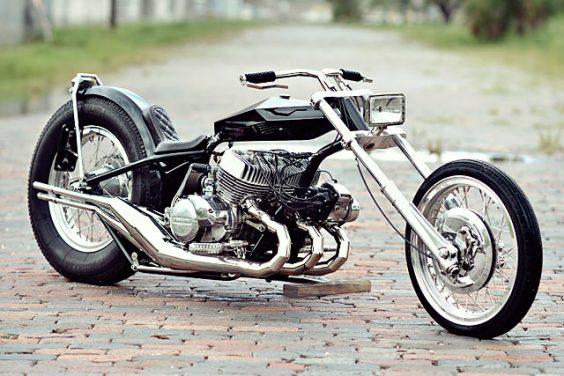 WACKY RACES. A Kawasaki 750 H2 Digger by Florida's FNA Custom Cycles