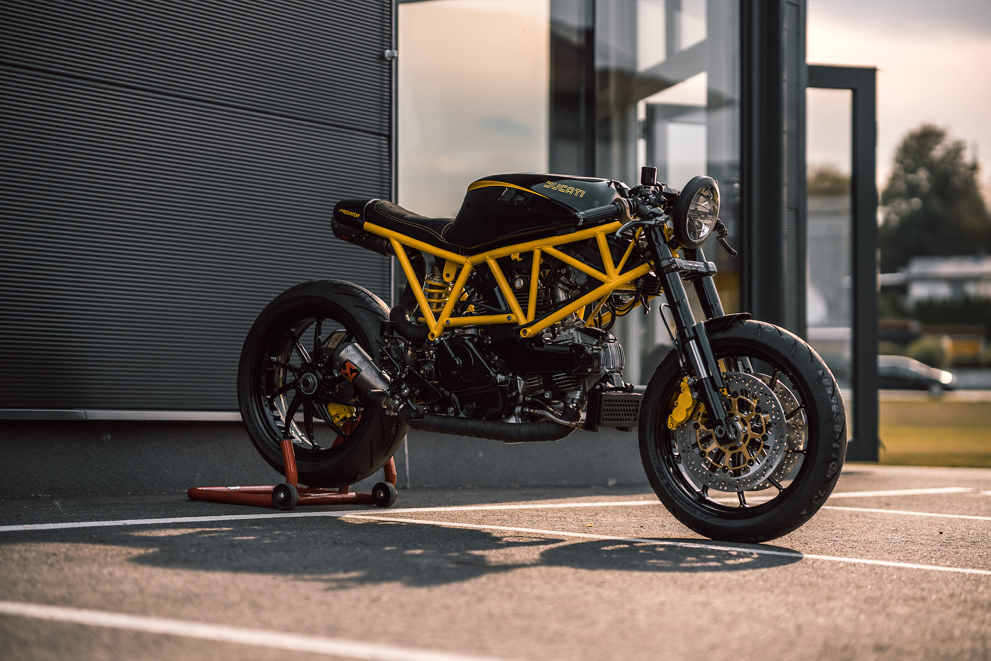 Taking some more parts from the Ducati catalogue meant a set of 1098 rearsets were selected and make for an aggressive riding position after plenty of ...